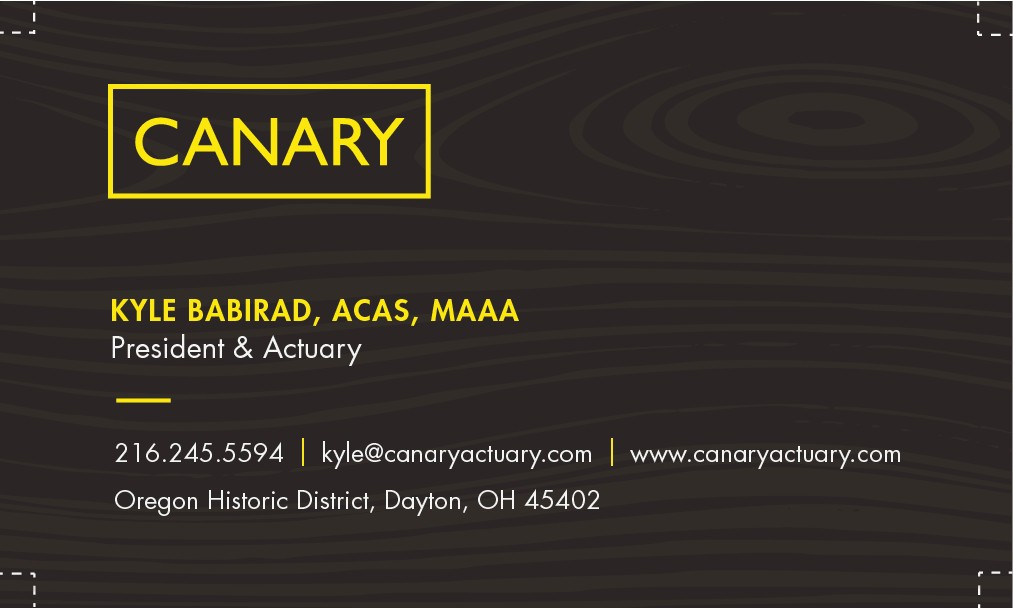 Design an elegant business card for Canary Consulting (logo already provided)