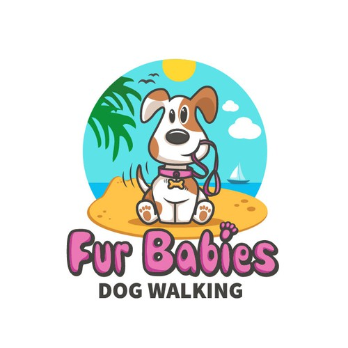Fun and playful logo for dog walking business