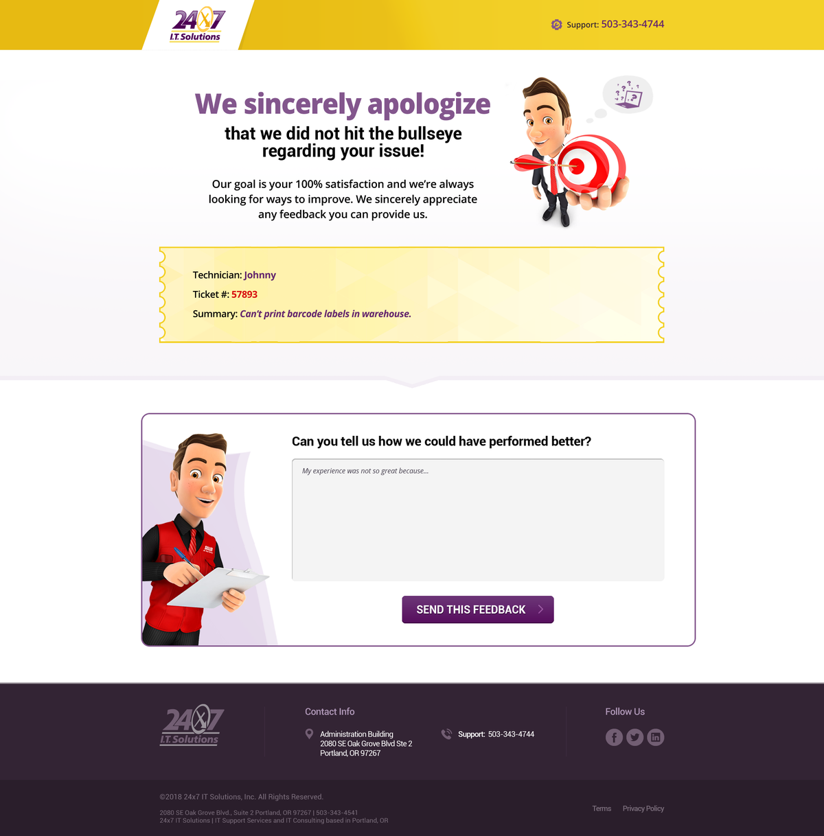 Landing Page for Bad Reviews