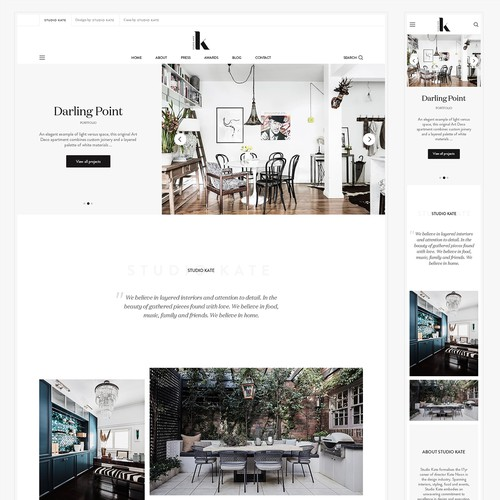 Clean, premium, chic website for upmarket interior designer