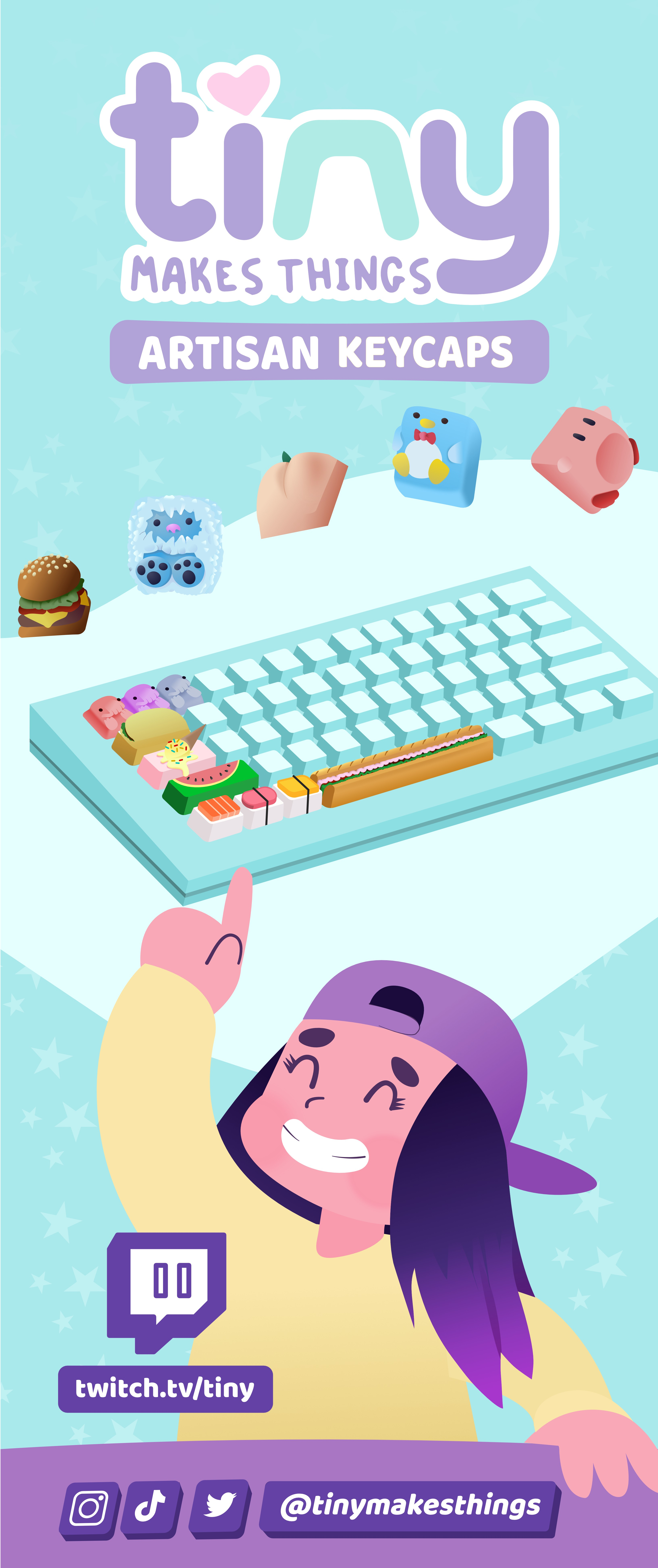 Design a Cute, Playful, Feminine retractable banner for a keycap maker (for keyboards)!!