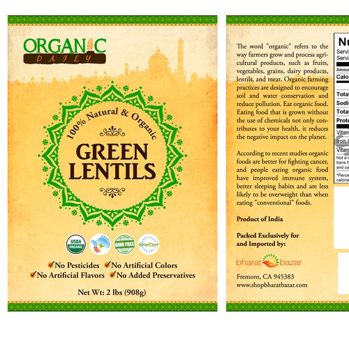 Packaging Label for Organic Daily's Indian Spice in a jar.