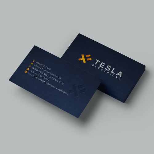 Dark-Blue Business Cards for Tesla Electrial