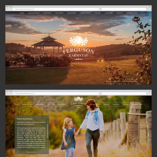 Simple & modern website for the best farm in Australia (Fergusonfarmstay)