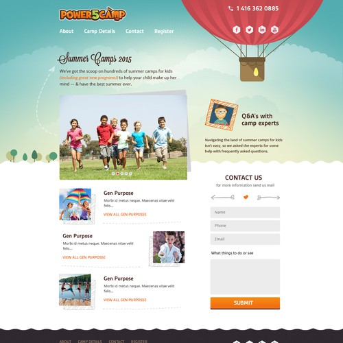 Power 5 Summer Day Camp website design