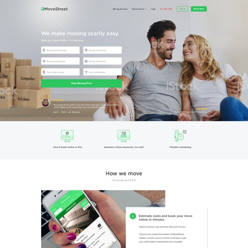Homepage design for Australia based house moving service start up company