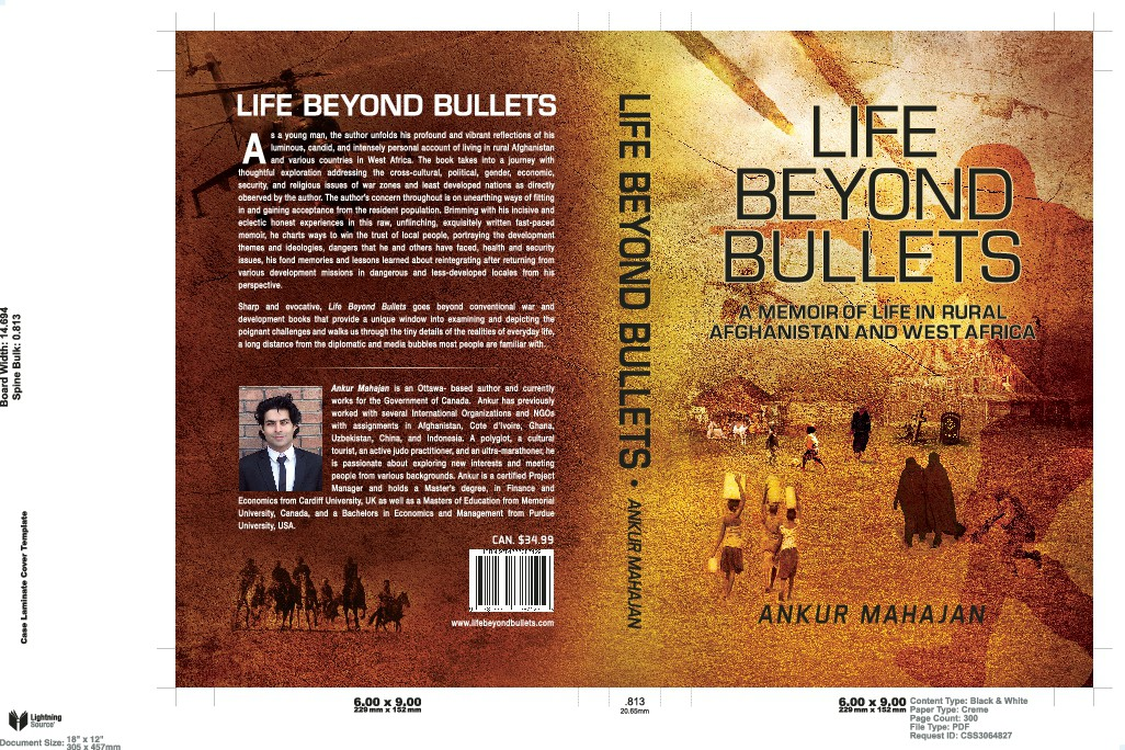 Book cover for non fiction memoir on Afghanistan and West Africa
