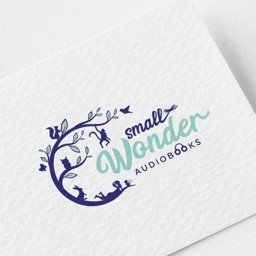 Smart and whimsical logo for small wonder audiobooks for kids!