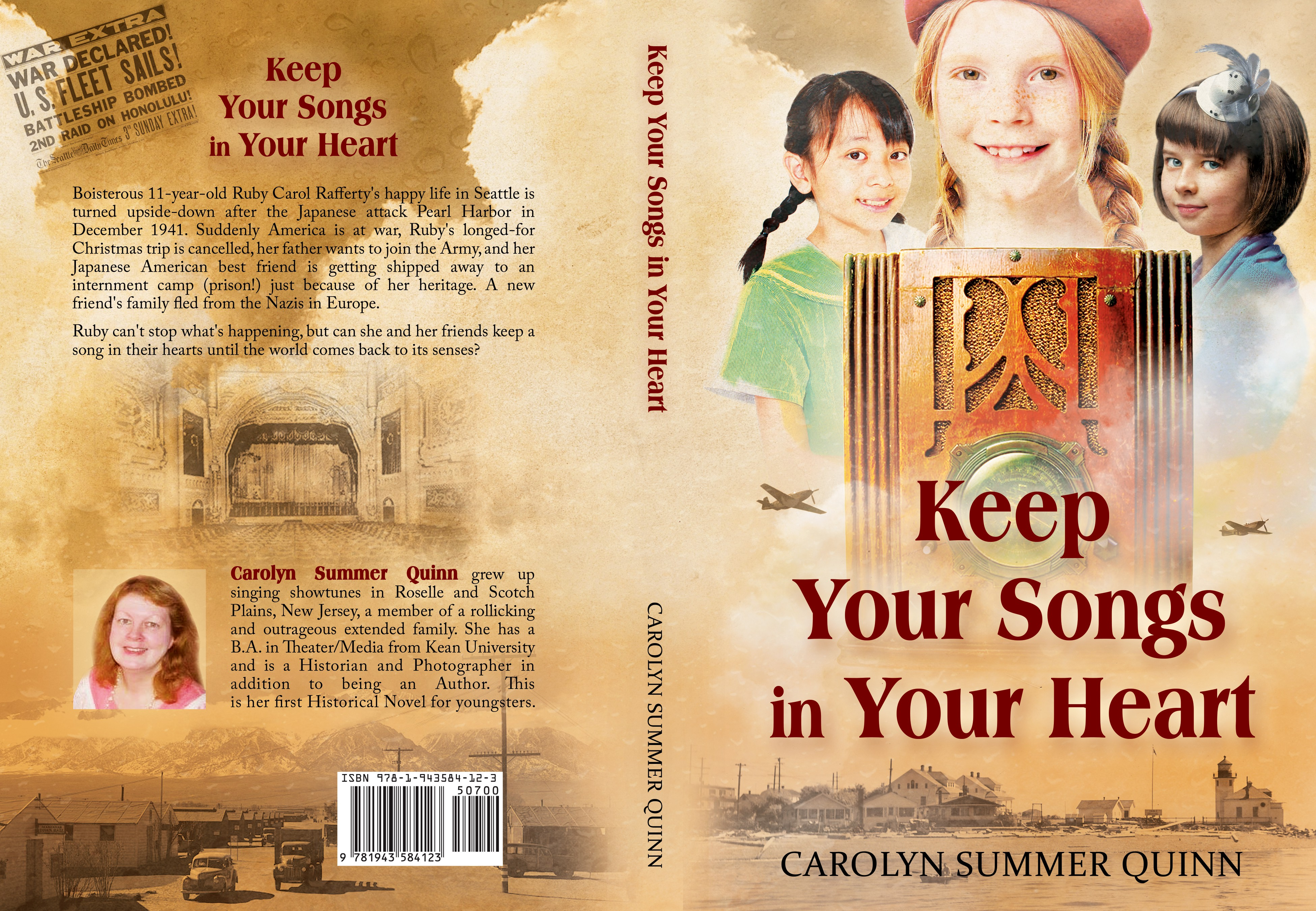 Design a Retro 1940s book cover for My Children's Novel KEEP YOUR SONGS IN YOUR HEART