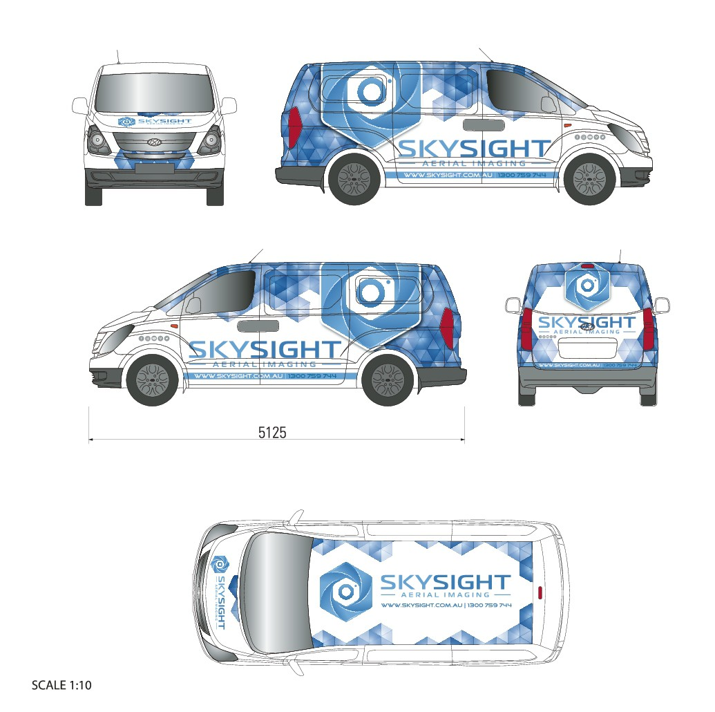 Create a eye-catching vehicle wrap with impact for a leading aerial imaging business!
