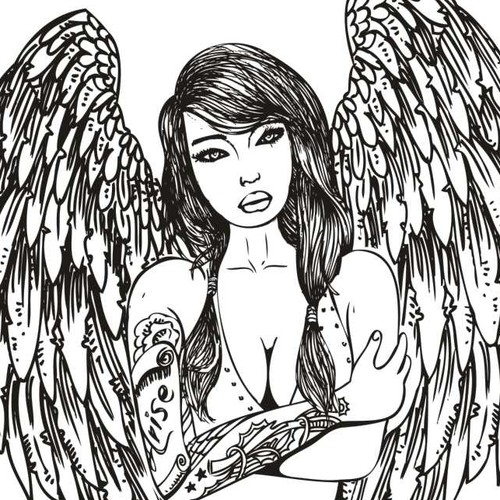 Create a beautiful line art drawing of a tattooed angel for a top e-liquid company!