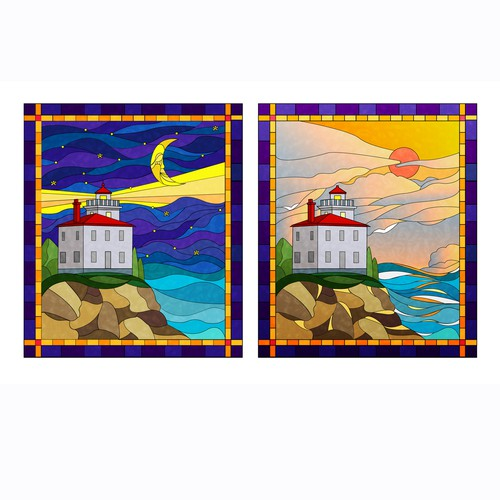Lighthouse Stained Glass Window Designs