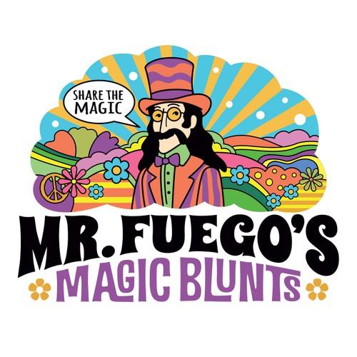 Retro style, psychedelic logo concept for legalized marijuana product.