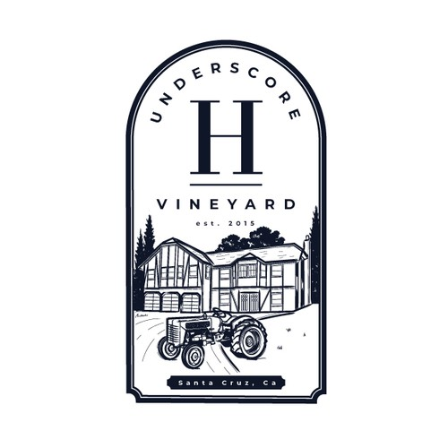 Small home vineyard rustic logo