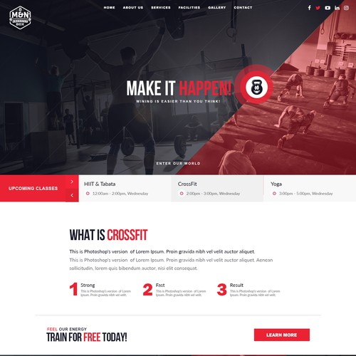 CrossFit homepage design