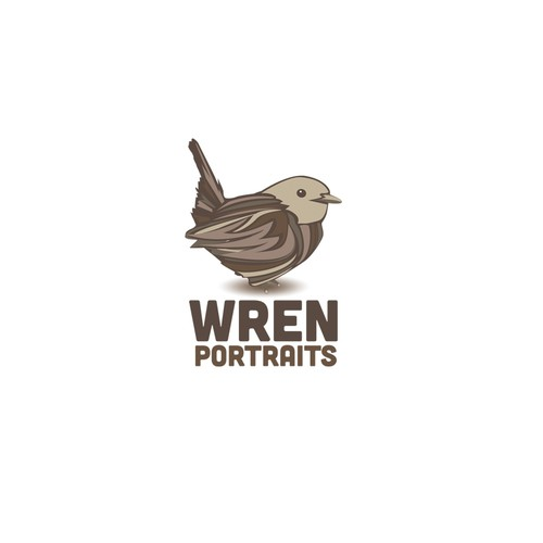 Create a fun logo for Wren Portraits, a family oriented portrait photographer