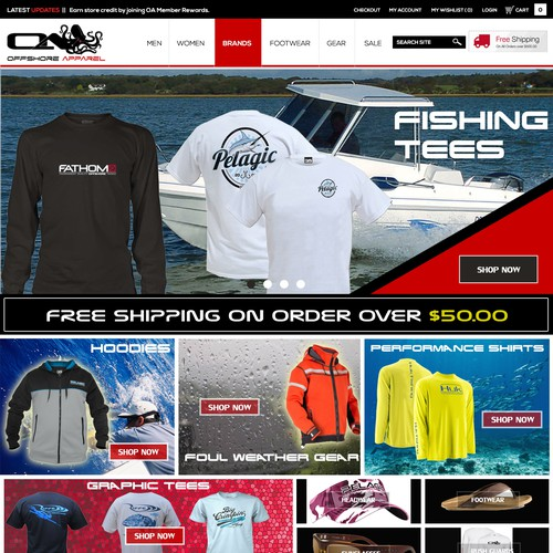 Psd Layout design for offshoreapparel.com