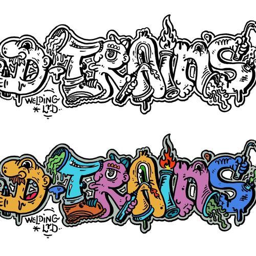 DTRAINS Welding Graffiti Logo