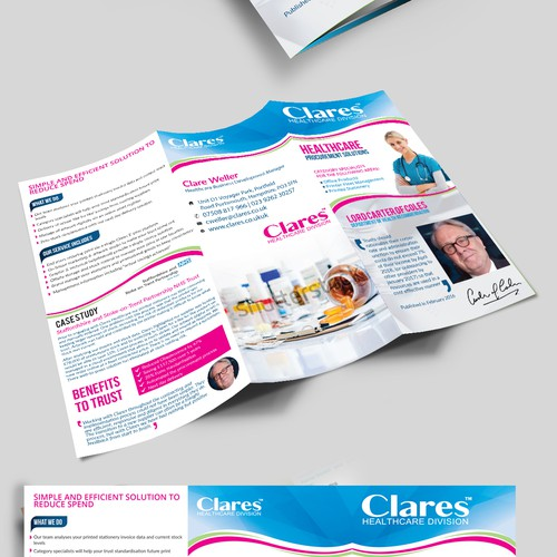 Tri-fold brochure design for Clares health care