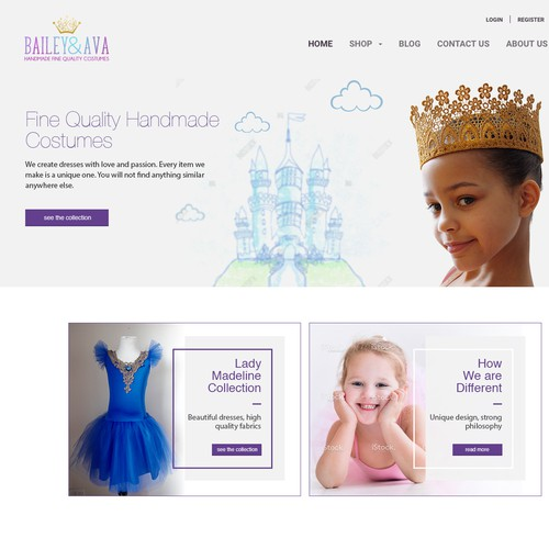 Three banners for online shop of hand dresses for kids