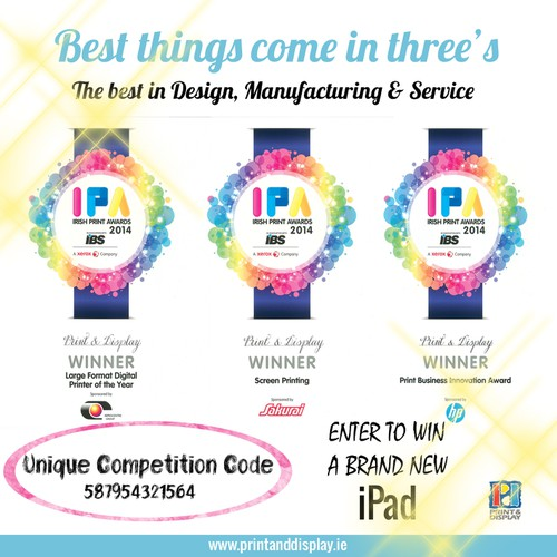 Design a DM flyer to promote Print & Display Ltd as the 3 times Irish Print Awards winner