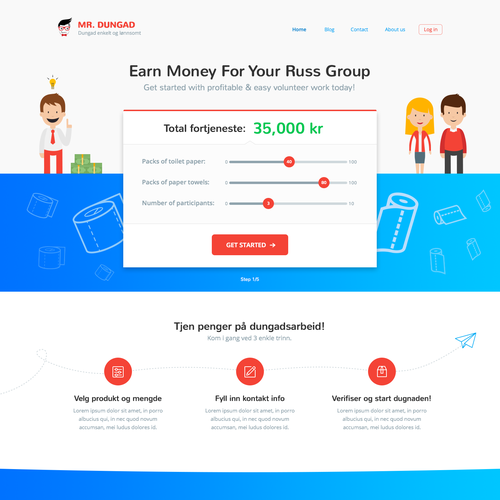 Page concept for Norwegian startup