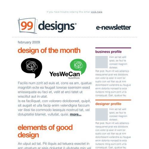 Layout for email newsletter