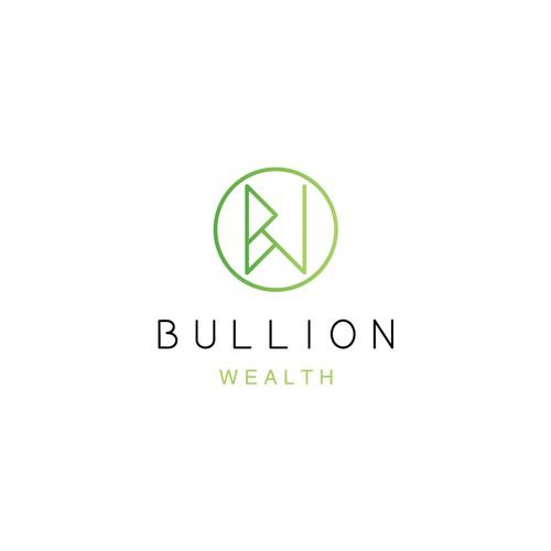 green gradient logo concept for BULLION WEALTH