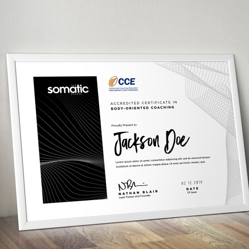 simple certificate design for somatic school