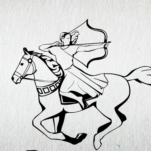 Create a traditional, dignified logo design for Running with Horses