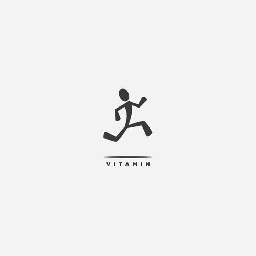 Bold jumping man logo