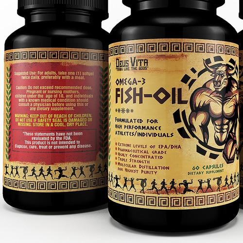 Create a Eye-Catching label for Fish Oils Targeting Athletes