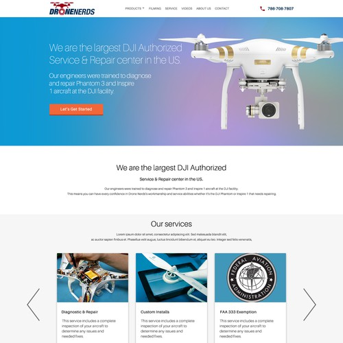 Eye catching landing page for Drone company repair services