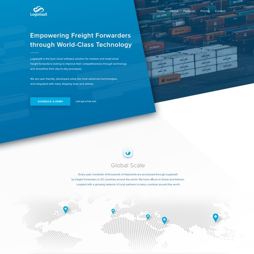 Homepage concept for LogistaaS
