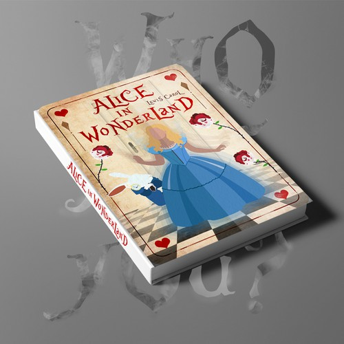 Book cover for a Alice in Wonderland audible book.