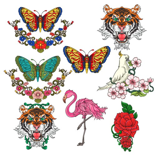 Create cool, crazy and stylish asian animal heads - flower designs for a high end comming up fashion label