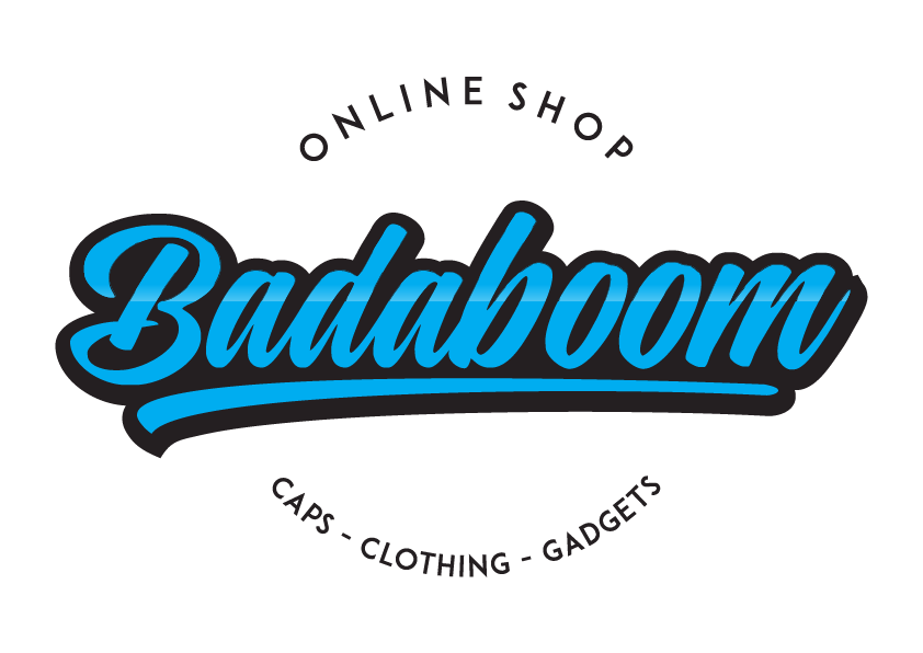 badaboom Webshop logo für Caps, clothing and gadgets