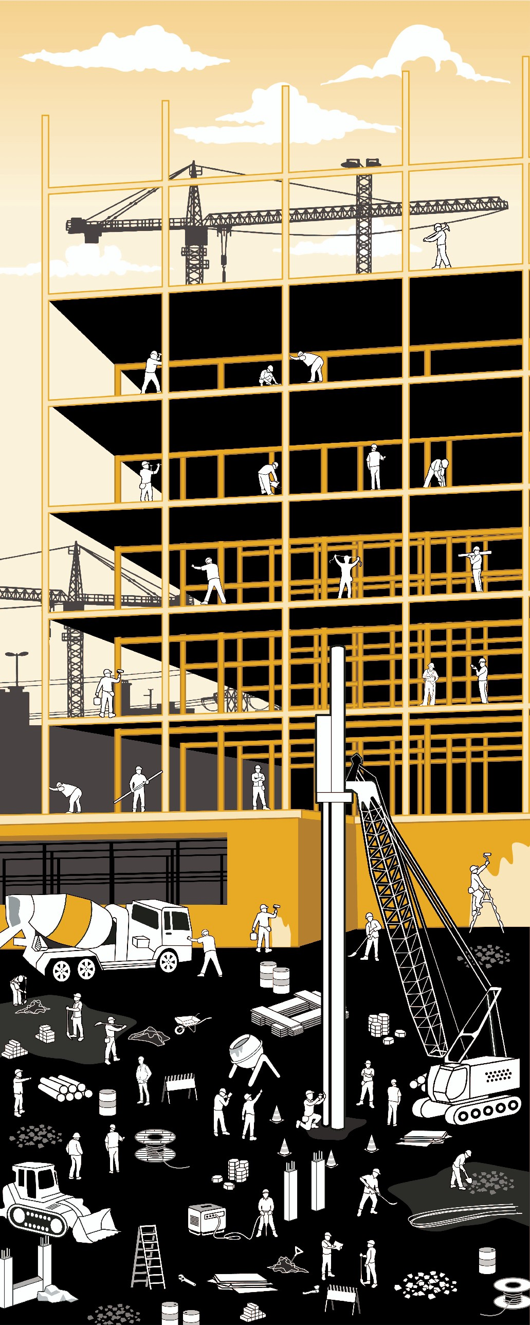 """Where's Waldo-Style Construction Illustration """"Find the Toolbox"""""""