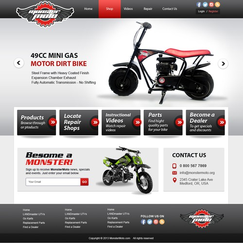 Create the MonsterMoto mini-bike and go-kart site!