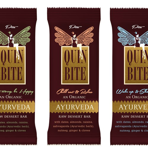 Create a label design for an absolutely remarkable NEW Ayurveda Organic fruit & nut dessert bar!!!