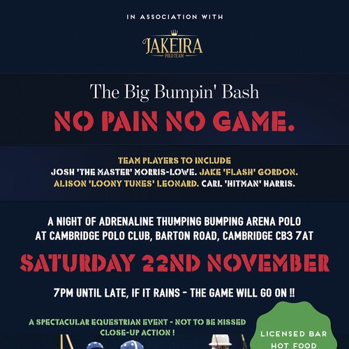 Flyer for equestrian arena polo event