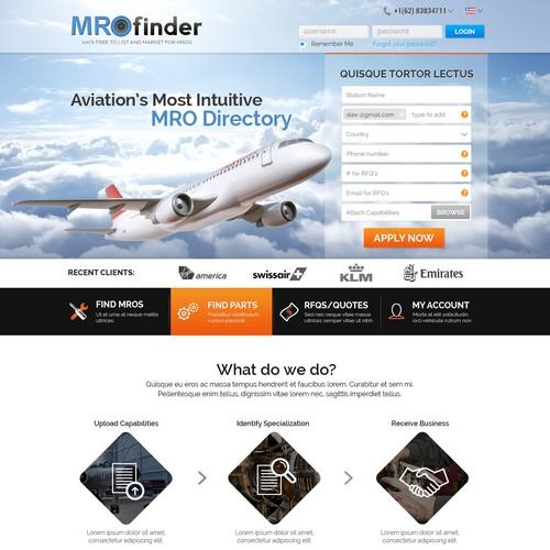 MRO Finder Landing Page