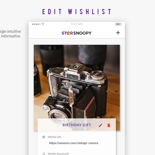 Design a Wishlist App - vintage or not on your discretion
