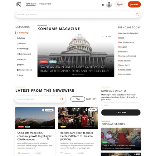 A database Website for News lovers and Journalists