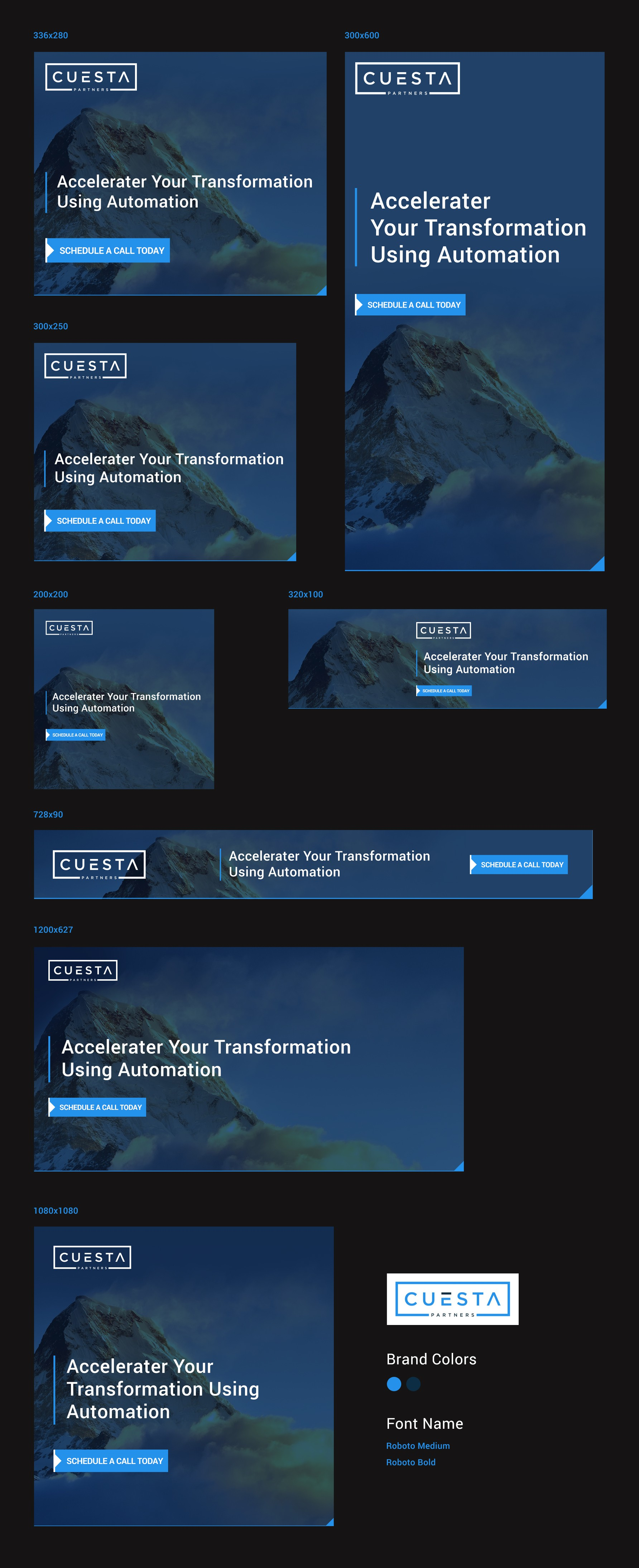 Dynamic banner ad template for LinkedIn and other channels