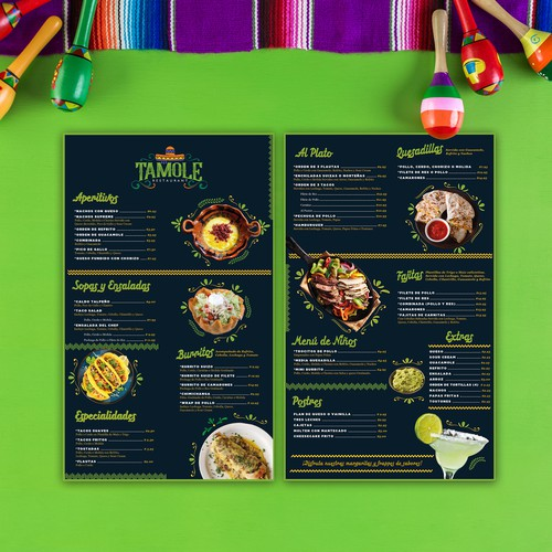 menu for Mexican  Restaurant