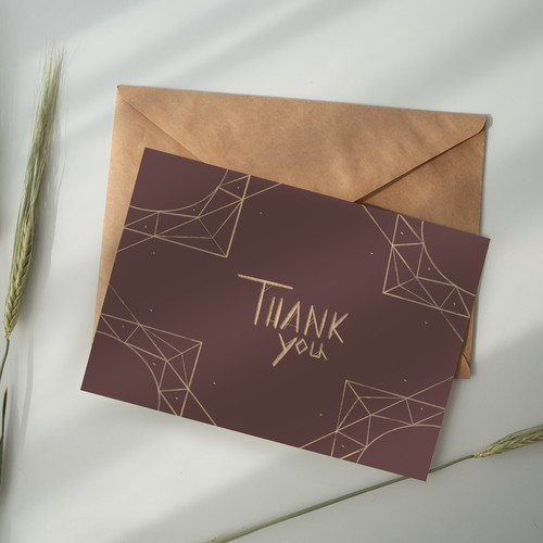 Thank you card as part of a set