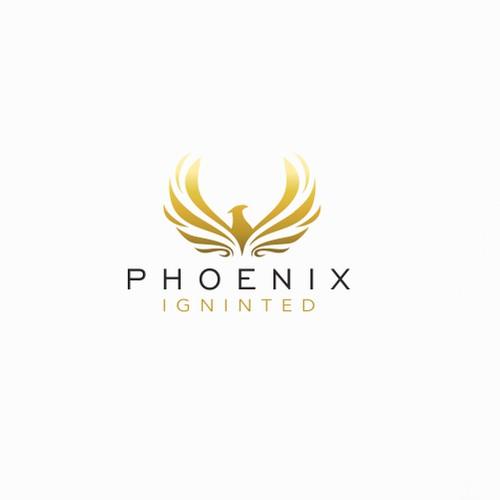 gold feminine phoenix logo