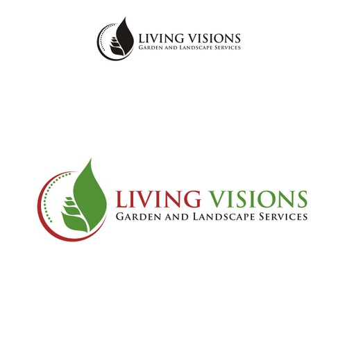 "Living Visions (submit tiled variation of logo with the tagline ""Garden and Landscape Services"""