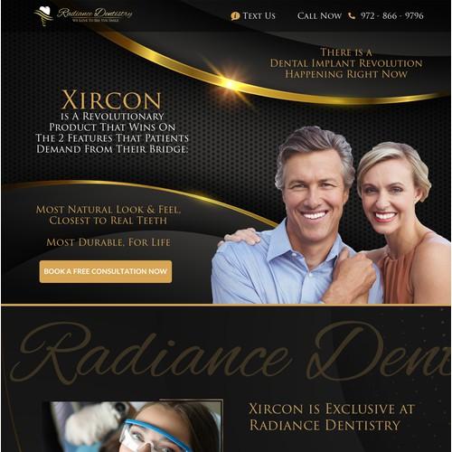Landing Page Design for Radiance Dentistry, a Dental Implant Center